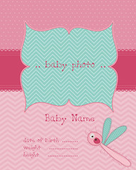 Baby Girl Arrival Card with Photo Frame in vector