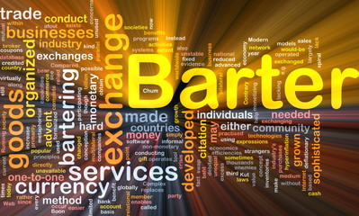 Barter background concept glowing