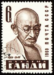 Mohandas Karamchand Gandhi portrait on postage stamp