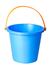 Blue children bucket isolated on a white background.