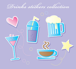 Drinks stickers collection vector illustration
