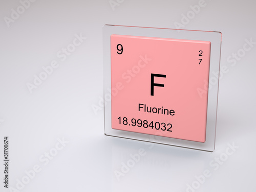 Fluorine Symbol F Chemical Element Of The Periodic Table Stock