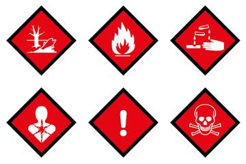 Gefahrzettel Set Gesundheitsgefahr Gesundheit Feuer Ätzend