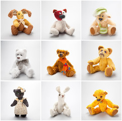 Collage Teddy bears and friends on a white background