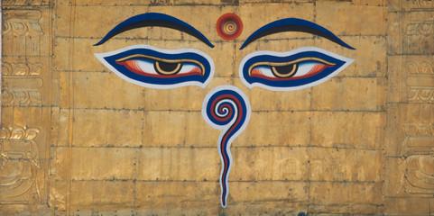 Buddha eyes painted on Swayambhunath stupa, Kathmandu, Nepal.