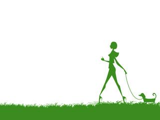 散歩する女性のシルエット