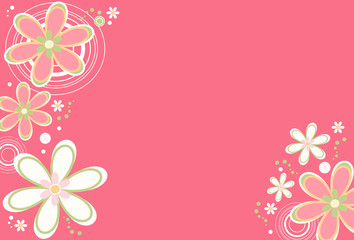 Floral background with retro flowers and circle designs