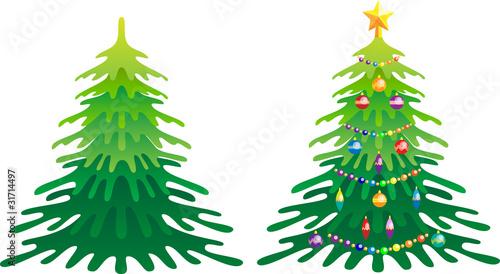 """""""елка новогодняя с игрушками и без игрушек"""" Стоковое ..."""