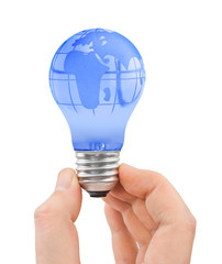 Hand and bulb with globe