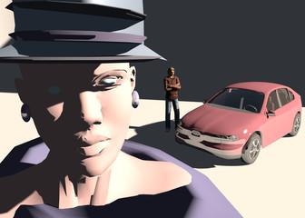 Figura femminile con automobile