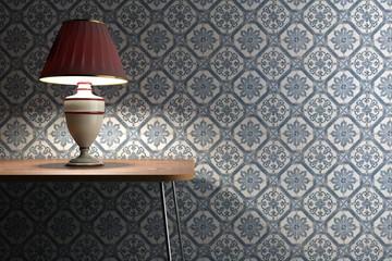 Vintage lamp on tiles background