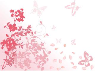 pink butterflies andfalling petals