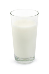 Glass of milk over white
