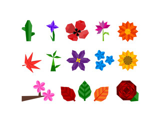 Origami Flower Plant Icon Set