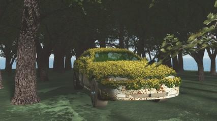 Verrostetes Auto mit Blumen bewachsen im Wald