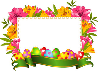 Eggs in flowers. Easter card