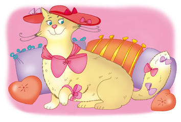 fat cat with red hat