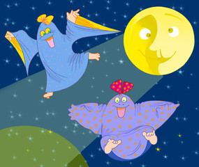 two  funny ghosts and big yellow Moon