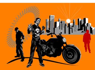 A macho motorcycle rider