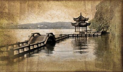 Lac d'Hangzhou, style vintage - China