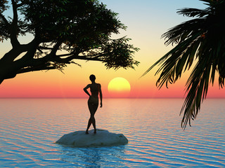 Young woman is enjoying the sunrise