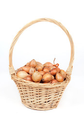 Yellow onions in a basket