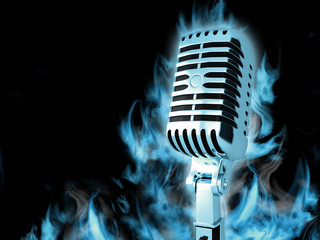 Microphone in a blue smoke