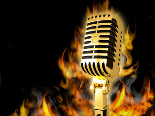 The microphone is on fire