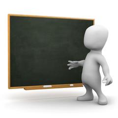 3d Little man at the blackboard