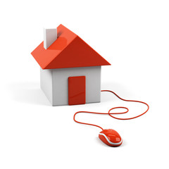 House connected to a computer mouse. 3d image.