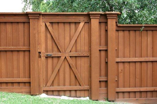 Door in a cedar fence