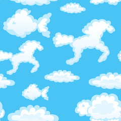 Seamless with toy clouds