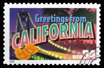 USA postage stamp Greetings From California