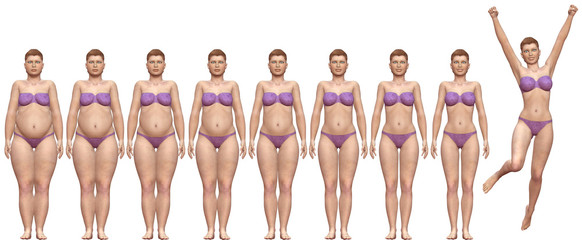 Fat Fit Before After Diet Weight Success Woman