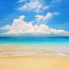 beach and beautiful tropical sea with island