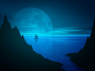 Moon and reflection in night sea water