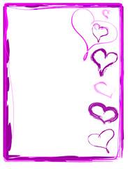 Rosa Rahmen pink mit Herzen handgemalt