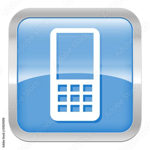 pictogramme t l phone mobile s rie carr bleu fichier. Black Bedroom Furniture Sets. Home Design Ideas