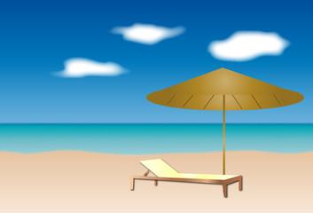 Playa con el mar y una sombrilla