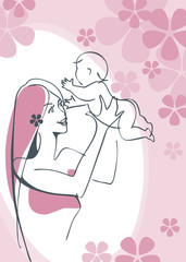 Mother and Child girl. Postcard vector 3.