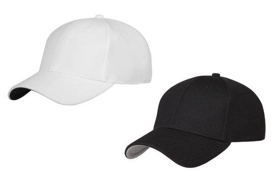 black and white caps