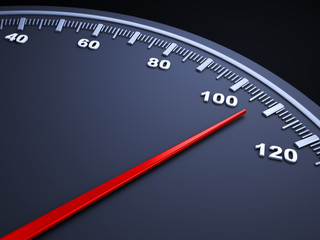 Close-up view of a speedometer