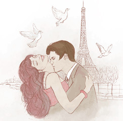 Zelfklevend Fotobehang Illustratie Parijs couple kissing in Paris