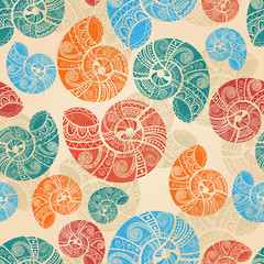 vector seamless background with  bright snail shells with ethnic