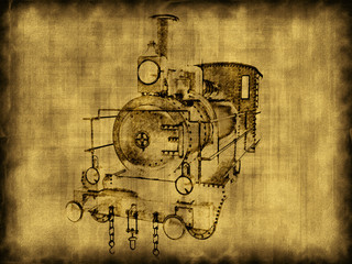 Drawing on an old locomotive background