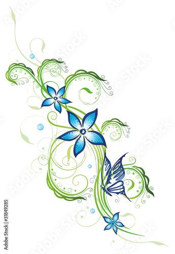 ranke flora blumen bl ten filigran blue collection stockfotos und lizenzfreie vektoren. Black Bedroom Furniture Sets. Home Design Ideas
