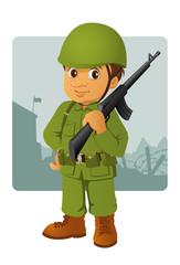 Keuken foto achterwand Militair military man with his rifle