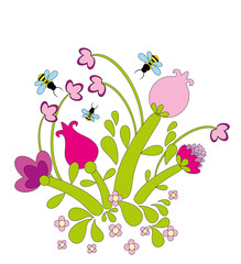 Vector illustration. Flower and butterfly.