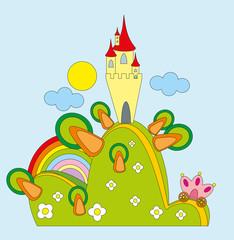 Printed kitchen splashbacks Castle Vector illustration. Castle on green hill.