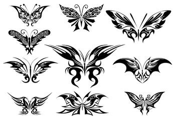 Vector illustration. Tattoo black butterfly
